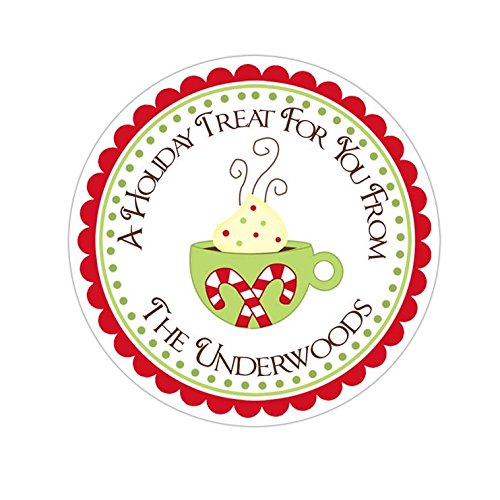Hot Cocoa Party Personalized Christmas Round Sticker Labels 7 sizes avaiable