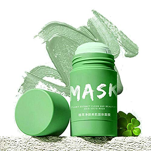 Green Tea Purifying Clay Stick Mask, Oil Control Solid Spiral Deep Clean Fine Mask for Acne, Old horny, Large pores