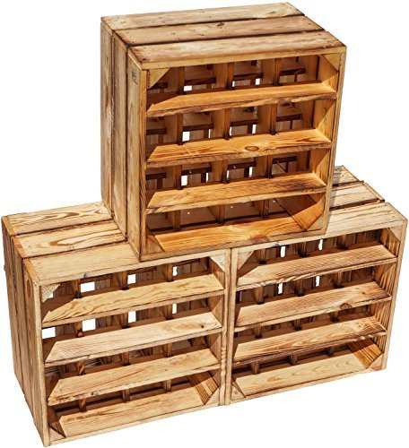 Kistenkolli Altes Land Flamed Wine Rack 16er Dimensiones 40x40x27cm Estante Caja botellero botellero botellero vino caja Apple box/caja de vino - Flamed, 3er set 16er geflammt