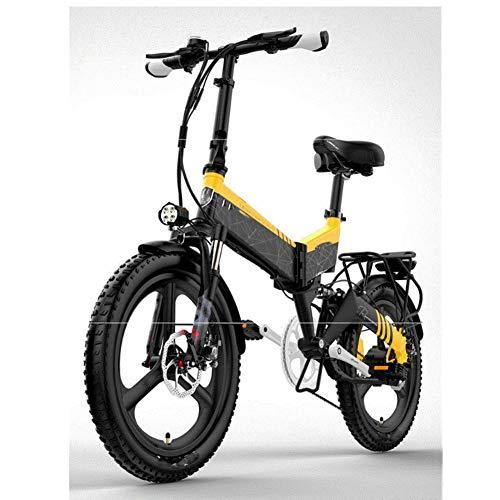 HWOEK Bicicleta Eléctrica Plegable, 20' Adulto Ciudad Bicicleta eléctrica Montaña Batería extraíble con Sistema antirrobo Doble suspensión Delantera y Trasera Unisex,Amarillo,A 10.4AH