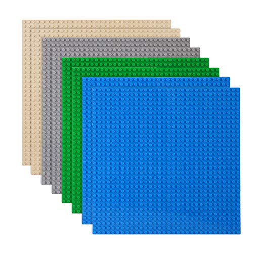 Classic Baseplates Building Plates for Building Bricks 100% Compatible with All Major Brands-Baseplate, 10  x 10 , Pack of 8, Multicolored