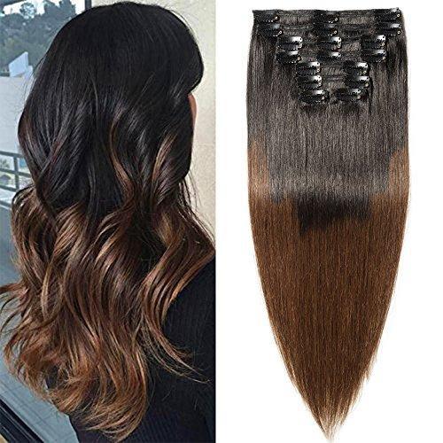 Extension Cheveux Naturel a Clip Maxi Epaisseur - Remy Hair - 8 Pcs Double Weft (#1BT4 DEGRADE NOIR NATUREL A MARRON MOYEN, 55CM 160G)