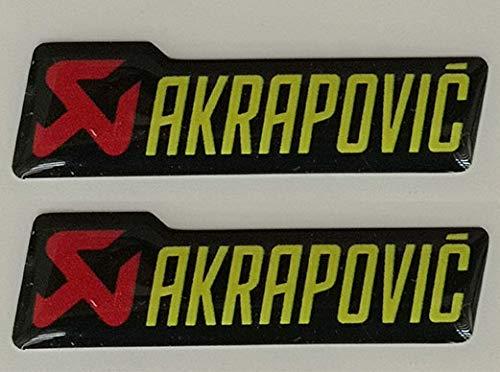 2 Aufkleber Akrapovic Auspuffanlage Moto Auto Yellow 40 mm 3D Harz Cube