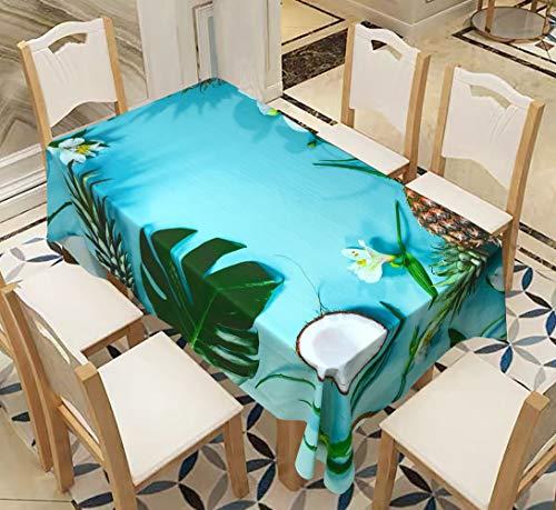 Morbuy Rechteckige Tischdecken, 3D Pflanze Blatt Drucken Tischdecke Wasserdicht Abwaschbar Abwischbar Lotuseffekt Tischtuch für Dekoration Küchentisch Garten Outdoor (Kokosnuss & Ananas,140x200cm)