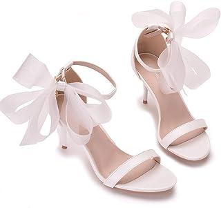 Women's Bridal Shoes,Women's Court Shoes,7cm temperament white bow shallow heel sandals Wedding shoes Mary Jane Pumps,Clubbing Evening Wedding Party Dress Big Sizes Bridesmaid shoes,36 EU