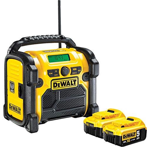 DeWALT DCR020 240V DAB FM Jobsite Digital Radio with 2 x 5.0Ah DCB184 Batteries