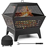 Amagabeli Fire Pit with Waterproof Cover Outdoor Wood Burning 24.4in...