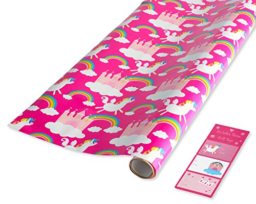 American Greetings Unicorns and Rainbows Wrapping Paper and Gift Tags
