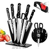 Knife Block Set with Knives 5PCS Stainless Steel Kitchen Knife Sets with 1pc Knife Sharpener & 1pc Acissor Masthome