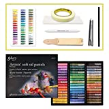 Mungyo Gallery Soft Oil Pastels Set of 48 with Drawing Materials (Sandpaper, Blending tortillon, Chalk Holder, Masking Tape, Color Chart, Blending Tissue Paper, Colored Pencil)