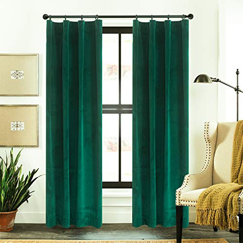 Roslynwood Velvet Curtains Dark Forest Green Rod Pocket Drapes 96 inch Thermal Insulated for Bedroom 2 Panels (W52'' x L96'', Emerald Green)