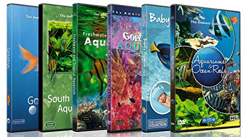 6 Disc Set Aquarium DVD Combo Pack - Fish Video Aquariums for TV, Cats - Relaxation for Kids