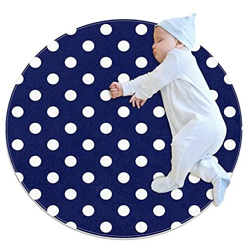 Alfombras de área Redonda de diámetro 27,6 Pulgadas Azulejo baldosas Blanco Lunares Marinero Azul Marino Azul Alfombra Suave Divertida Antideslizante para Sala de Estar Dormitorio Decorativo