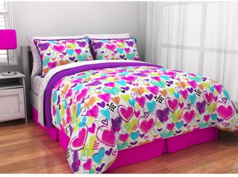 Latitude Bright Heart Bag Teen Bedding, Twin, Multi