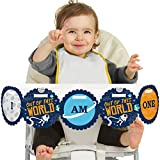 Big Dot of Happiness Blast Off to Outer Space 1rst Birthday Highchair Decor - I Am One - First Birthday High Chair Banner