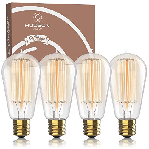Antique Vintage Edison Bulb 4 Pack - 60 watt - Hudson Lighting 60 watt Vintage Light Bulb - ST58 - Squirrel Cage Filament - 230 Lumens - Dimmable - E26 Bulb Base