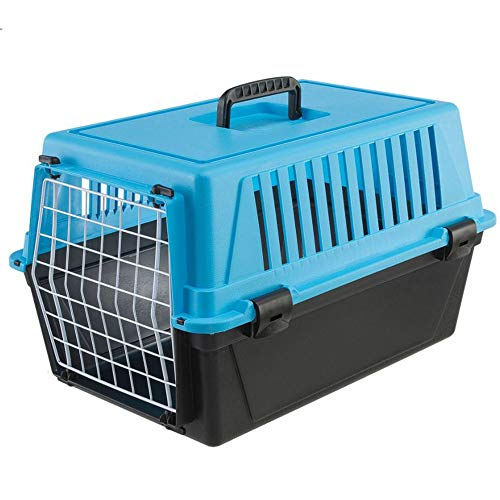 Ferplast Transportbox für kleine Hunde und Katzen Atlas 10 EL, Transportbox für Tiere, robuster Kunststoff, Tür aus kunststoffbeschichtetem Stahl, Lüftungsgitter, 32,5 x 48 x 29 cm
