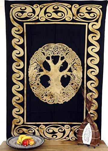 Guru-Shop Indiaas Wanddoek, Batik Bedsprei - Levensboom/oker, Geel, Katoen, 190x140 cm, Mandala Bedspreien Handdoeken