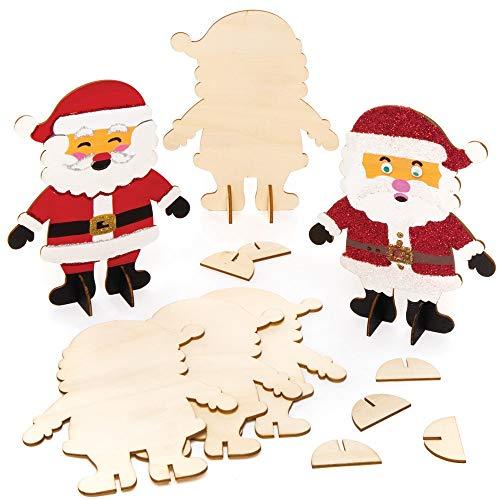 Baker Ross Weihnachtsmann Holzfiguren zum Aufstellen und Bemalen (6 Stück) Bastelset Kinder zu Weihnachten