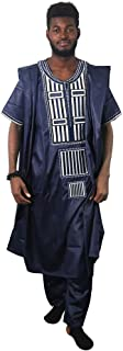 African Family Matching Outfits 3 Pieces Embroidery Agbada Daddy Mommy Kids Clothing