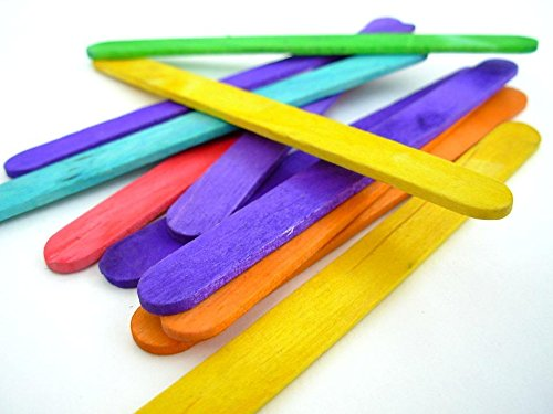 Rayher 6121649 Bastelhölzer, 150 mm x 20 mm, 36 Stück, bunt gemischt, Holzspatel zum Basteln, Holzstiele farbig