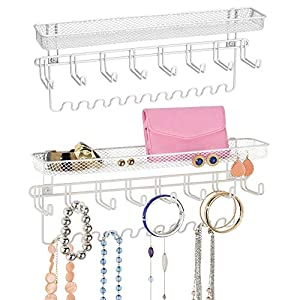 mDesign Decorative Metal Closet Wall Mount Jewelry Accessory Organizer for Storage of Necklaces, Bracelets, Rings, Earrings, Sunglasses, Wallets - 8 Large /11 Small Hooks, 1 Basket - 2 Pack - White