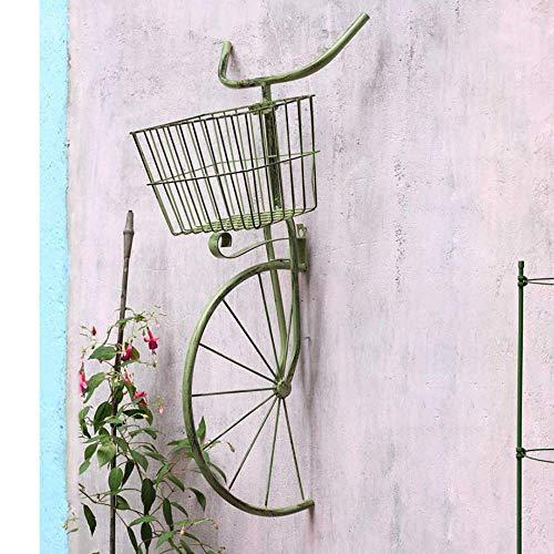 BABYCOW Hierro Bicicleta Planta Soporte Decoración Flor Maceta Soporte Estante de exhibición Hogar Jardín Decoración de Patio, Verde