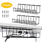2 Packs Cable Management Tray, 40cm Under Desk Cable Organizer for Wire Management, Metal Wire Cable...