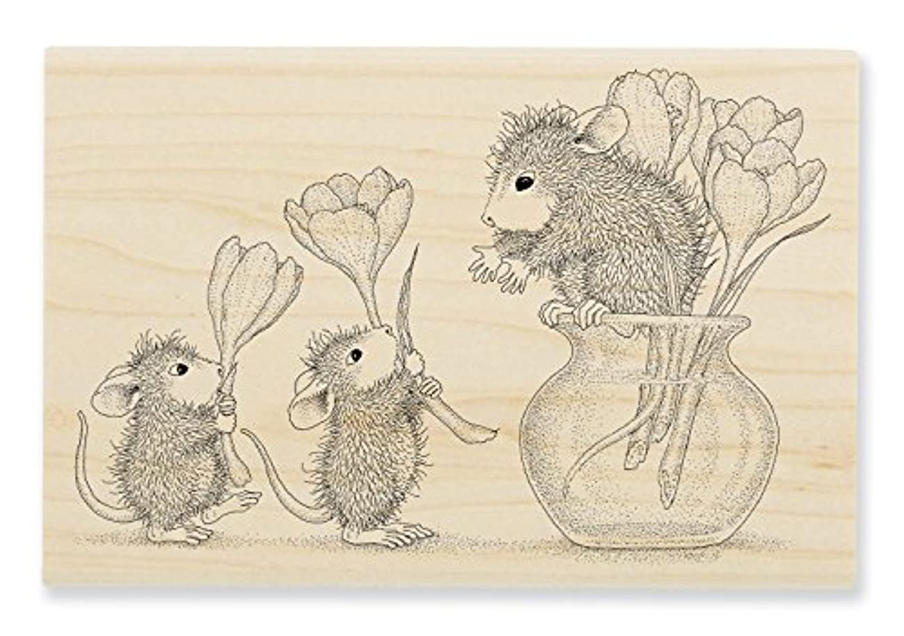 STAMPENDOUS HMP72 House Mouse Flower Arranging Rubber Stamp