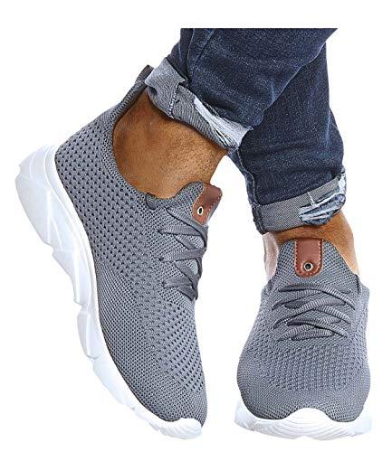 Leif Nelson Herren Schuhe für Freizeit Sport Freizeitschuhe Männer weiße Sneaker Sommer Coole Elegante Sommerschuhe Sportschuhe Weiße Schuhe für Jungen Winterschuhe Halbschuhe LN205 41 Grau