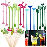 """Daily Treasures Cocktail Ice Drink Swizzle Sticks, 15Pcs 8"""" Flamingo Cactus Whale Reusable Novelty Swizzle Sticks with 14Pcs 5"""" Bamboo Decorative Cocktail Appetizer Picks for Tropical Beach Party"""