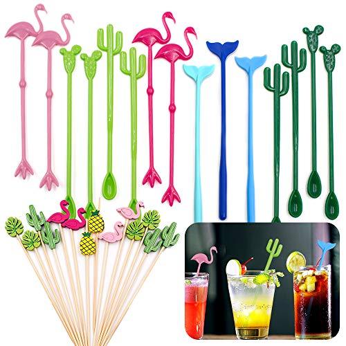 DailyTreasures Agitadores de Bebidas,15 Palillo de Cóctel Reutilizables Flamingo Cactus Whale + 14 Púas de Cóctel para Fiesta en la Playa Tropical