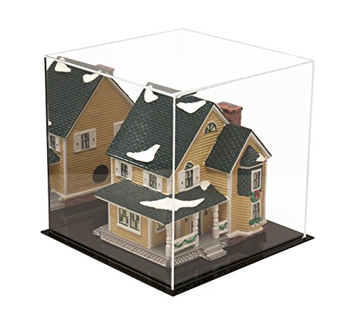 """Better Display Cases Versatile Acrylic Display Case with Mirror - Medium Square Box with Black Base 9.75"""" x 9.75"""" x 9.75"""" (A027-MDS)"""