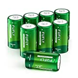 Fufly Rechargeable C Batteries 5000mAh - 1.2V Ni-MH High Capacity High Rated C Size Battery C Cell Rechargeable Batteries with Storage Box (8 Pack)