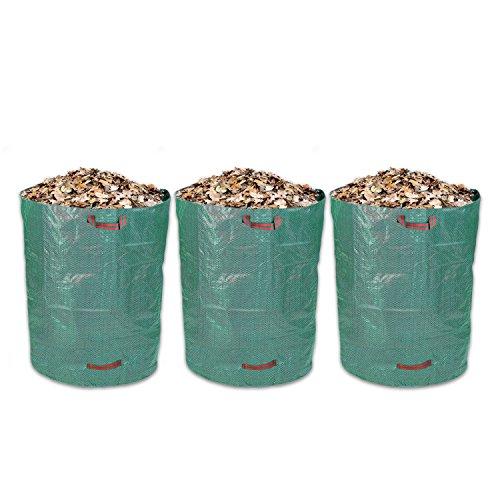 Schramm® 3 Stück Gartensäcke 120L Grün Robusten Polypropylen Gewebe PP Gartensäcke Garten Sack Säcke Big Bag 120 Liter Volumen 3er Pack