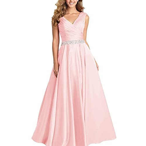 7f89c8aebf Dannifore V-Neck Pleated Satin Prom Dress Beaded Long Formal Evening Gowns  for Women