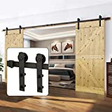 U-MAX 13 FT Heavy Duty Double Door Sliding Barn Door Hardware Kit - Smoothly and Quietly -Simple and Easy to Install - Fit 30'- 36' Wide Doors Panel (I Shape Hangers)