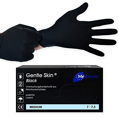 Gentle Skin Black Latex Einmalhandschuh/Untersuchungshandschuh, schwarz, 100 Stück, unsteril, puderfrei, Größe:M