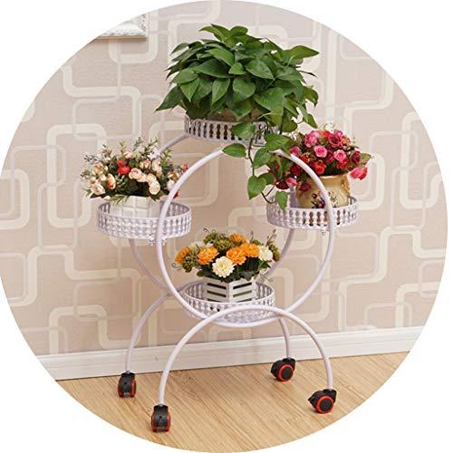 Étagères d'angle Support à Fleurs Plateau à Fleurs Multi-Couche à roulettes en Fer Support à Fleurs Assemblage Coin Salon Mobile Rack Balcon Bonsaï Cadre YCDJCS (Color : Blanc, Size : 55x29x80cm)