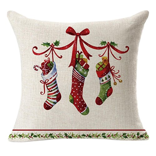 Kimloog Car Carrying Christmas Trees Gifts Pattern Linen Square Throw Pillow Cushion Pillow Cover 18x18