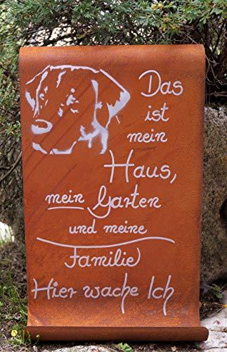 Dekostüberl Rostalgie Edelrost Tafel -Das ist Mein Haus - Hunde Gartendekoration Schild Spruch