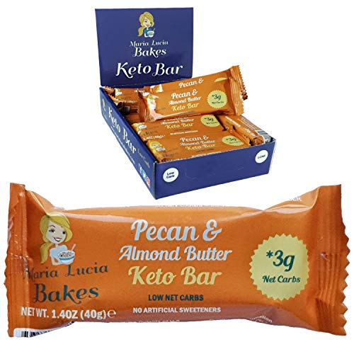 Maria Lucia's Keto Bars - Low Carb, Sugar Free Keto Snacks - Net 3g of Carbs - The Perfect Keto Breakfast or Meal Replacement Bar - 12 x 40g Pecan, Almond Butter & Coconut All Natural Low Carb Bars