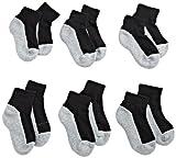 Jefferies Socks Little Boys' Seamless Sport Quarter Half Cushion Socks (Pack of 6), Black/Grey, 8-9.5 sock size/12-6 shoe size