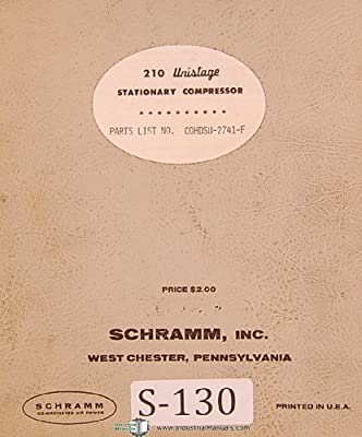 Schramm 210 Unistage 50 h.p., Stationary Air Compressor Parts Lists & Diagrams Manual from Schramm