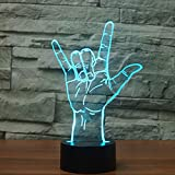 SUPERIORVZND 3D I Love You Sign Language Night Light Touch Table Desk Optical Illusion Lamps 7 Color Changing Lights Home Decoration Xmas Birthday Gift