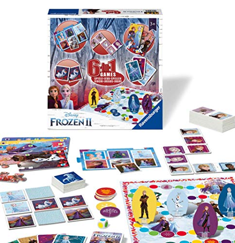 Ravensburger Disney Frozen 2 6-in-1 Games Compendium For Kids & Families Age 3 Years and Up - Bingo, Dominoes, Snakes & Ladders, Checkers, Playing Cards and Memory Game