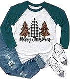 Merry Christmas Leopard Plaid Tree T Shirts Womens 3/4 Sleeve O-Neck Raglan Baseball Top Blouse (Green, XL)