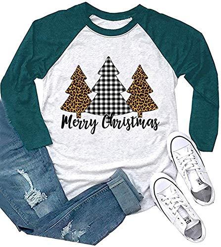 Merry Christmas Leopard Plaid Tree T Shirts Womens 3/4 Sleeve O-Neck Raglan Baseball Top Blouse (Green, XXL)