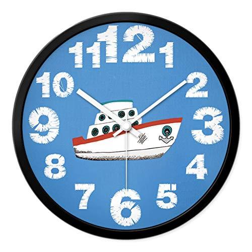 Decorativos Reloj de Pared Lindo de los niños, Creativo Moderno Interior Mudo Coche de avión pequeño Barco pequeño Reloj de Pared de Cuarzo Redondo Fácil de Leer (Color : B, tamaño : 35.5cm)