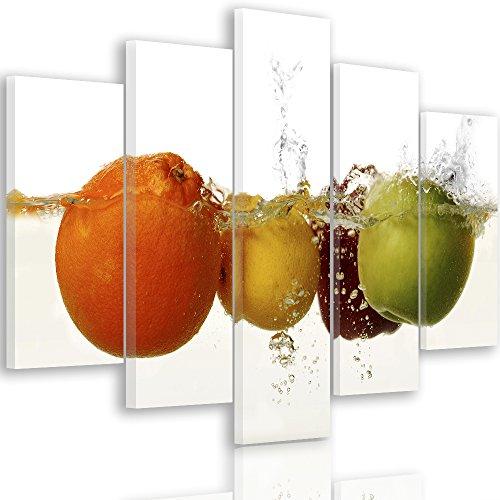 Feeby Frames, Quadro multipannello di 5 Pannelli, Quadro su Tela, Stampa Artistica, Canvas Natura Morta, Cibo, Frutta, Acqua, Gocce, Multicolor